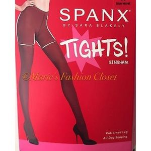 Spanx Gingham Tights (20039R), Chestnut size B